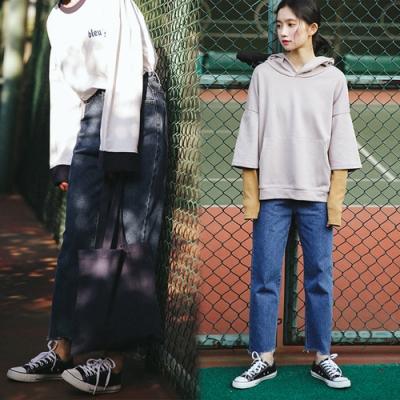 【韓國K.W.】(預購)美學獨特品味牛仔寬褲-1色