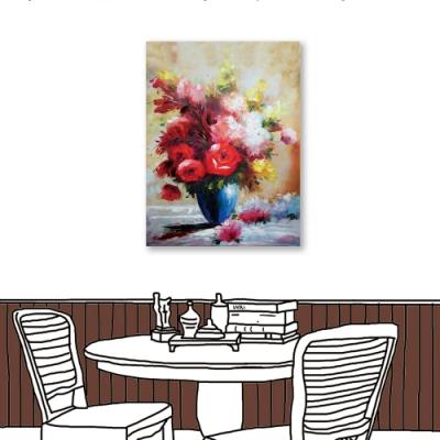 24mama掛畫 -單聯式 藝術裝飾 花卉 花瓶 油畫風無框畫 60X80cm-庭院