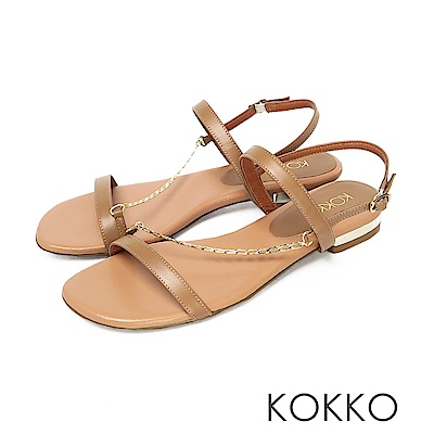 KOKKO柔軟羊皮細鍊線條平底涼鞋奶茶色