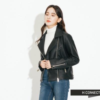 H:CONNECT 韓國品牌 女裝-翻領拉鍊設計皮革外套-黑