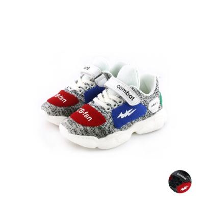 COMBAT艾樂跑童鞋-飛織運動鞋-白/黑(TD6293)