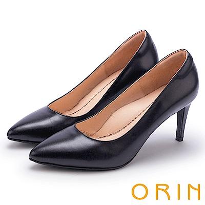 ORIN 典雅氣質 素面羊皮百搭尖頭高跟鞋-黑色