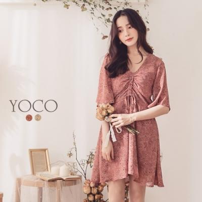 東京著衣-YOCO 氣質美人碎花可調式抽繩造型洋裝-S.M.L(共二色)