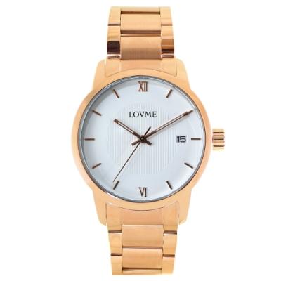 LOVME 紳士質感不鏽鋼日期窗手錶-IP玫x白/43mm