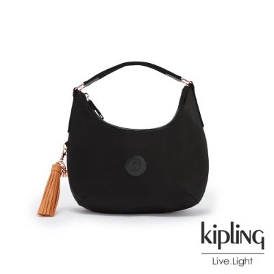 Kipling 率性玫瑰金細節黑色拉鍊大開口手提肩背包-GALYA