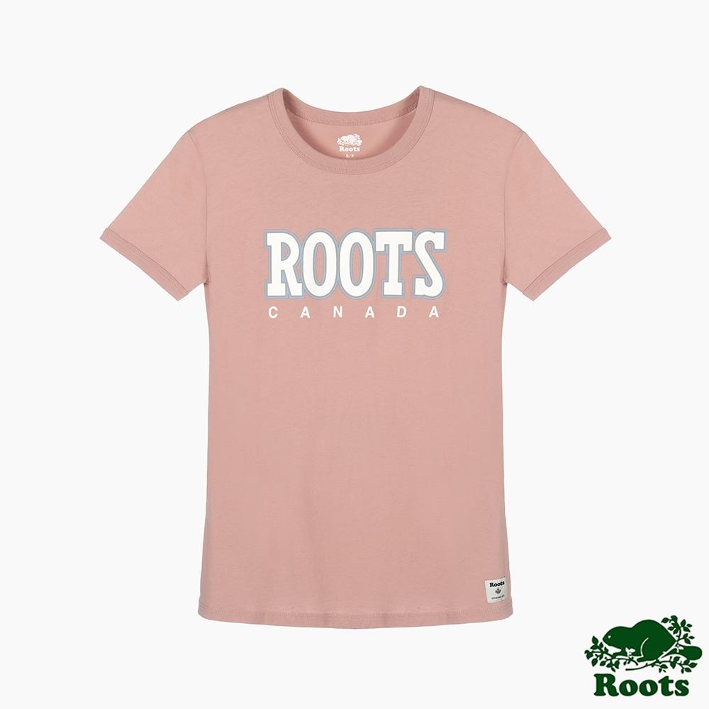Roots 女裝- 復古翻玩系列 修身版短袖T恤-粉色