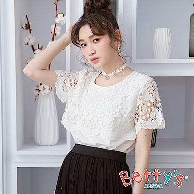 betty's貝蒂思 唯美拼接簍空蕾絲上衣(白色)