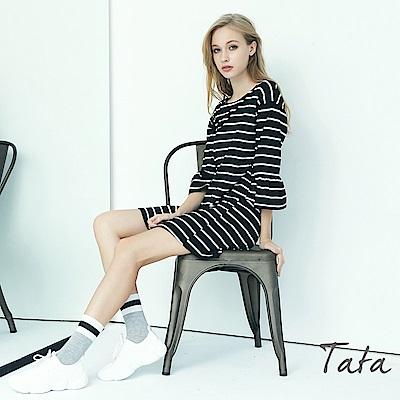八分袖條紋喇叭袖洋裝 TATA