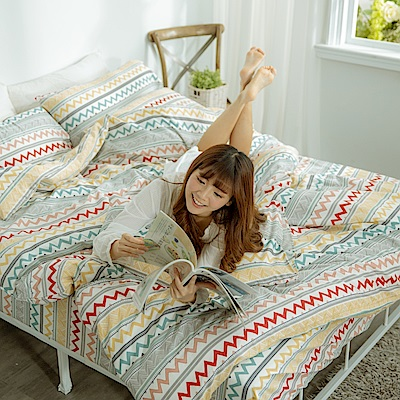 AmissU 頂級60支新疆長絨棉雙人加大床包枕套3件組 浮生若夢