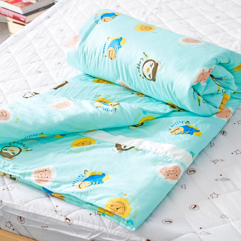 奶油獅 同樂會系列-台灣製造-100%精梳純棉兩用被套(湖水藍)-單人