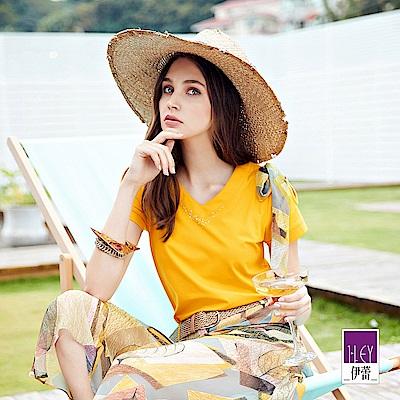 ILEY伊蕾 絲巾造型露肩棉質上衣(黃)