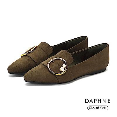 達芙妮DAPHNE 平底鞋-復古絨面金屬圓釦珠飾平底鞋-橄欖綠