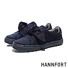 HANNFORT CAMPUS絨感蝴蝶結厚底休閒鞋-女-暖藍