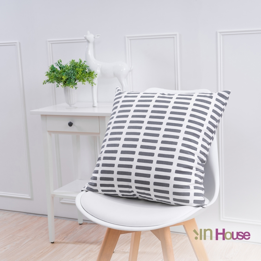 IN HOUSE 簡約系列抱枕-小方格灰(50x50cm)