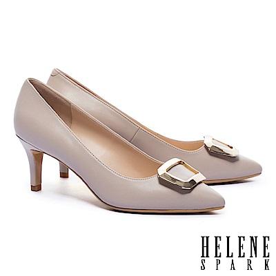 高跟鞋 HELENE SPARK 都市優雅金屬方釦羊皮尖頭高跟鞋-米