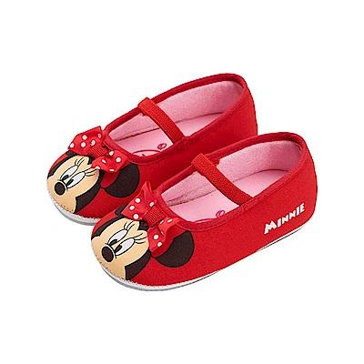 迪士尼童鞋 米妮 蝴蝶結寶寶娃娃鞋-紅