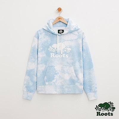 女裝Roots 雲朵印花短版連帽上衣-藍