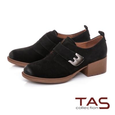TAS手工擦色粗跟踝靴-實搭黑