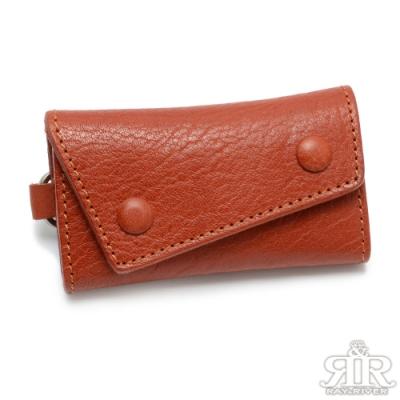 2R 植鞣樹羔牛皮 Leather 復古雙釦鑰匙包 經典紅棕
