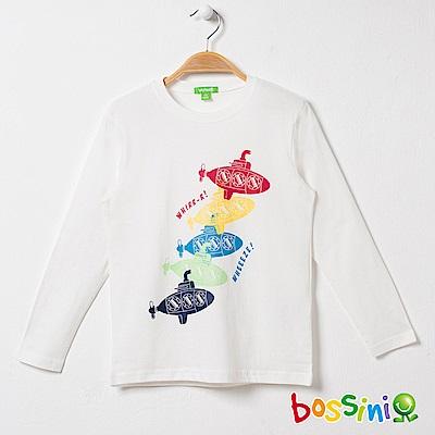 bossini男童-印花長袖T恤04灰白