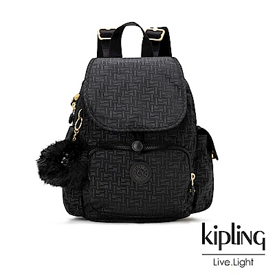 Kipling黑色幾何紋路拉鍊掀蓋後背包-CITY PACK MINI