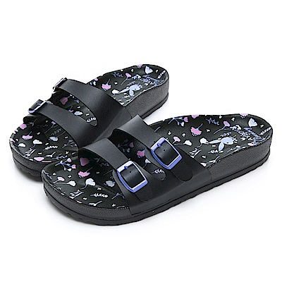 PLAYBOY 粉嫩浪漫雙帶休閒拖鞋-黑-YT503CC