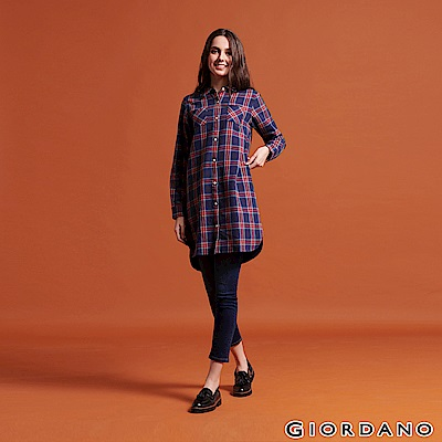 GIORDANO 女裝純棉法蘭絨雙口袋長袖襯衫連身裙-02 海軍藍/紅/淺藍/黃