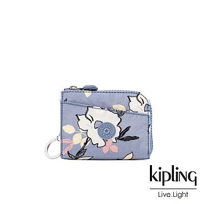 Kipling 粉紫藍柔雅花卉實用拉鍊短夾-AWATIK