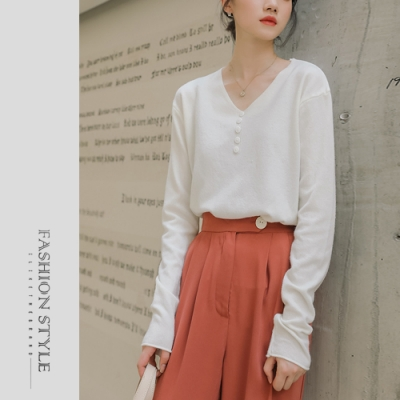 2F韓衣-簡約V領排扣素色上衣-2色(F)