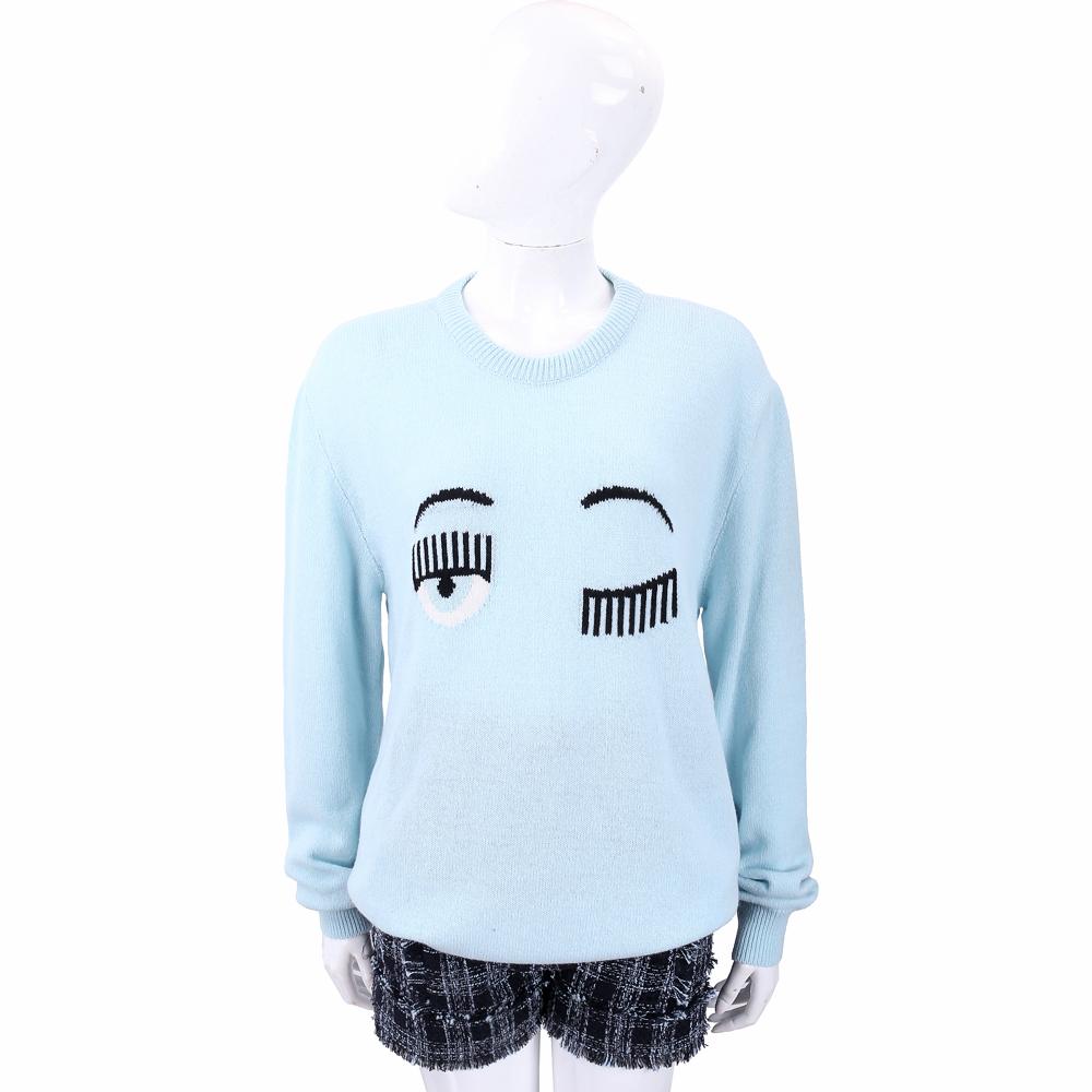 Chiara Ferragni Flirting 寬鬆版 水藍色眨眼圖騰美麗諾羊毛衫