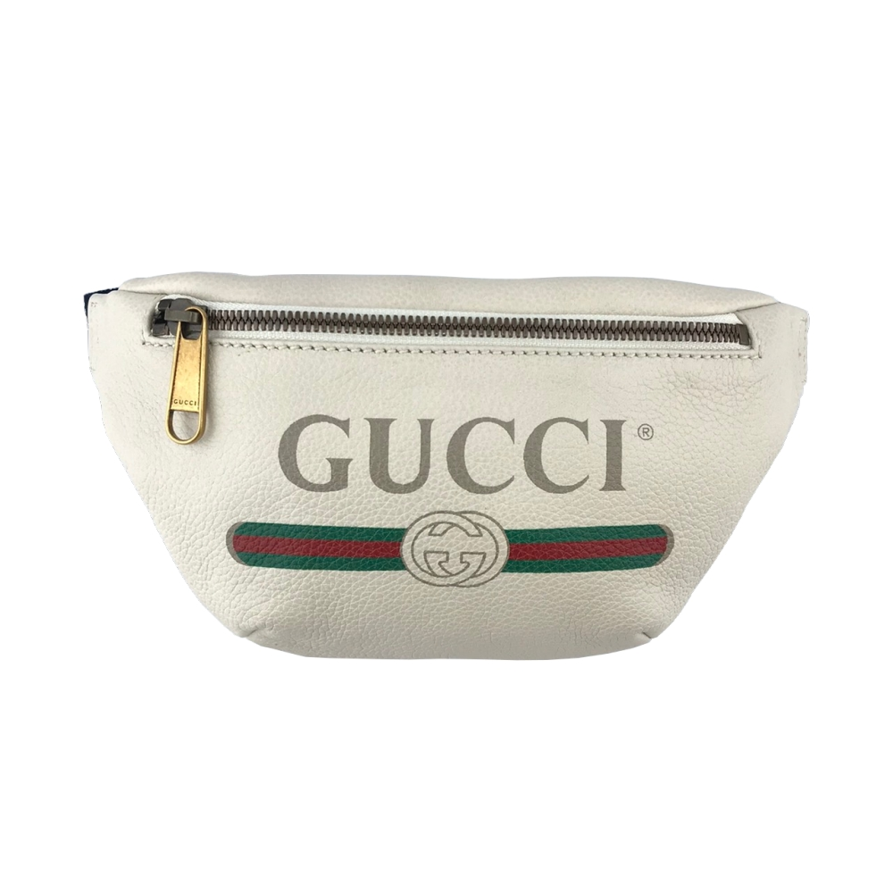GUCCI Logo Small 復古風格圖案 小牛皮 綠紅綠織帶 小款 肩背包 斜背包 腰包 白色 527792