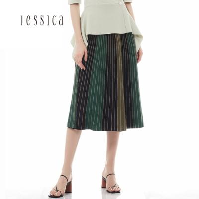 JESSICA - 黑綠色拼接百褶針織中長裙子