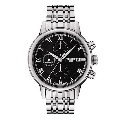 TISSOT天梭 Carson 經典三眼計時機械錶(T0854271105300)