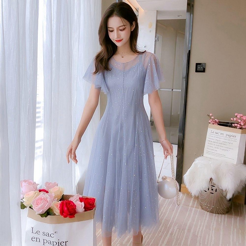似水柔情輕柔公主袖淑女恬靜洋裝S-XL(共三色)-Dorri