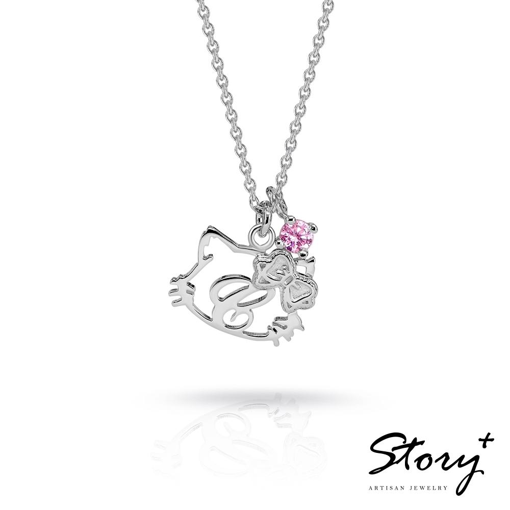 STORY故事銀飾-CharmmyKitty系列-恰咪Kitty外框單字純銀項鍊