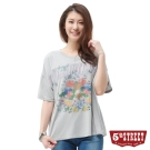 5th STREET T恤 雪紡拼接花卉造型棉T-女-灰色