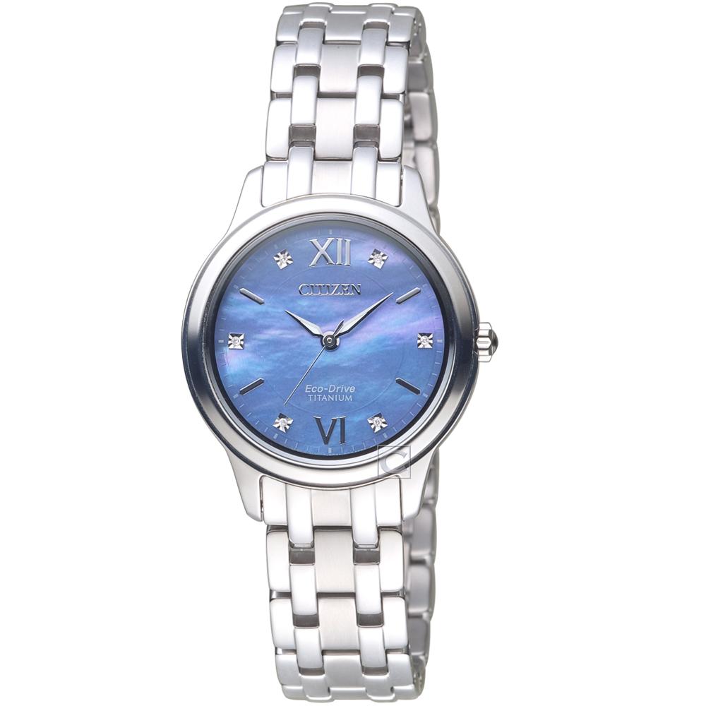 CITIZEN 璀璨珍珠貝鈦金屬腕錶(EM0720-85N)30mm