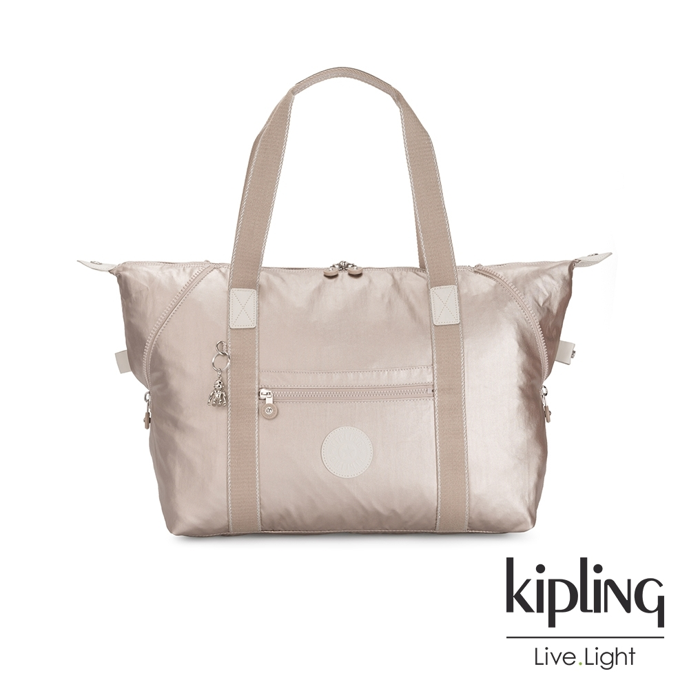 Kipling 都會時尚霧玫瑰金手提側背包-ART M