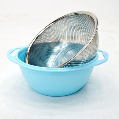 雙層不鏽鋼瀝水籃+盛水盆