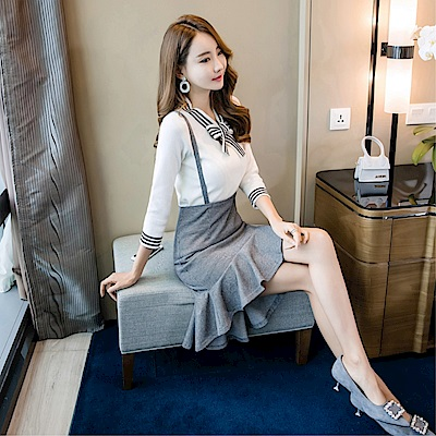 DABI韓系針織條紋蝴蝶結包臀裙套裝長袖裙裝