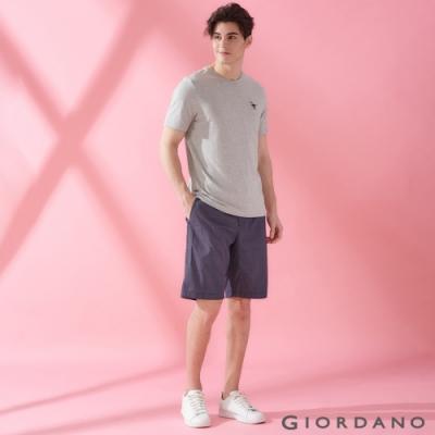 GIORDANO 男裝簡約百搭鬆緊腰抽繩休閒短褲-98 標誌海軍藍/白