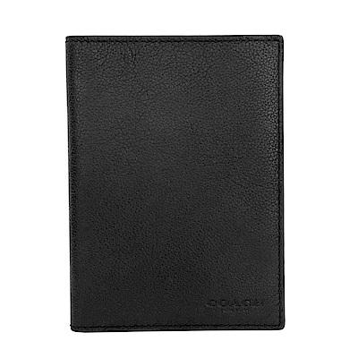COACH簡約黑色全皮雙摺護照夾