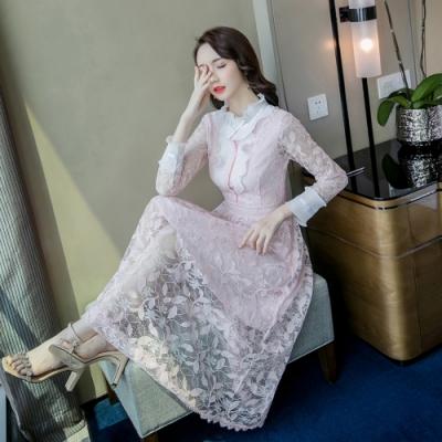 典雅百褶木耳領漾粉鈎花蕾絲網紗洋裝S-XL-Dorri