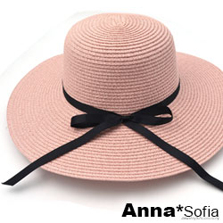 AnnaSofia 寬簷細黑綁帶 遮陽防曬淑女帽草帽(甜粉系)
