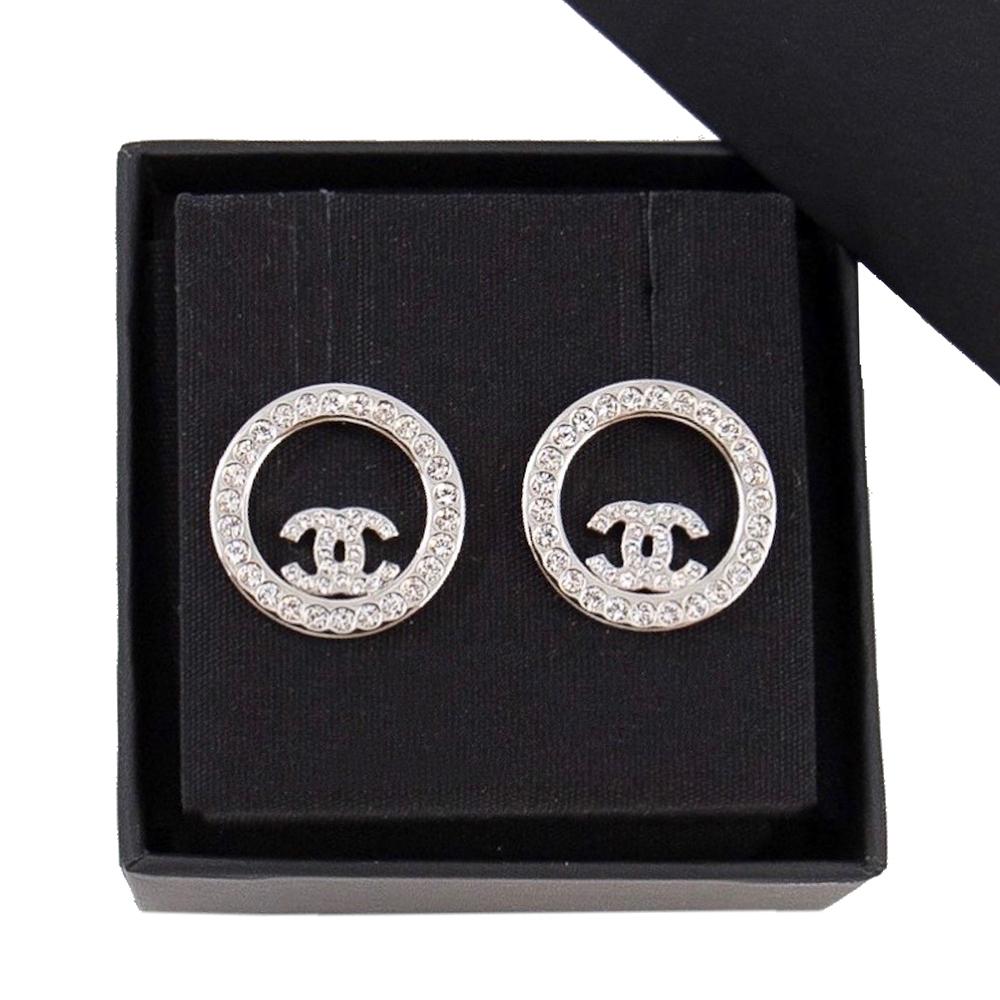 CHANEL 針式耳環 雙C 鏤空圓圈造型 白金