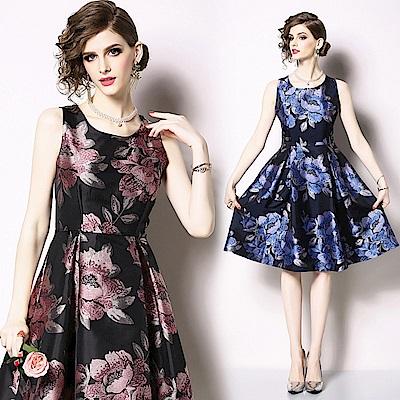 修身顯瘦削肩A字裙印花洋裝S-2XL(共二色)-M2M