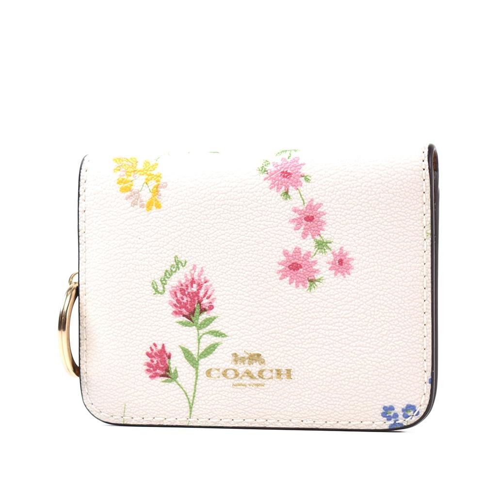 COACH 春漾花卉防刮皮革釦式鑰匙釦/卡包-香草白