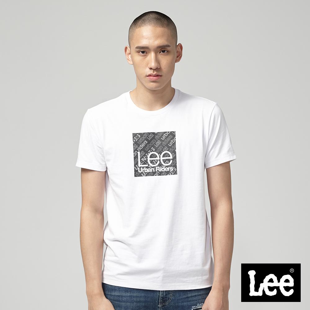 Lee 小框文字訊息印刷短袖圓領TEE-白