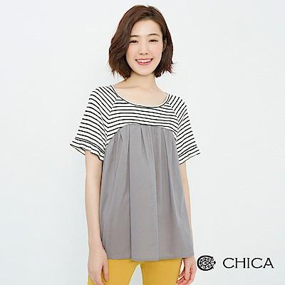 CHICA 俏皮日常異材質拼接設計上衣(1色)