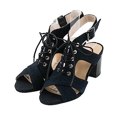 BESO 時尚魅力 牛仔綁帶蝴蝶結羅馬粗跟涼鞋~黑